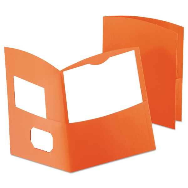 Oxford Contour Orange Two Pocket Folders
