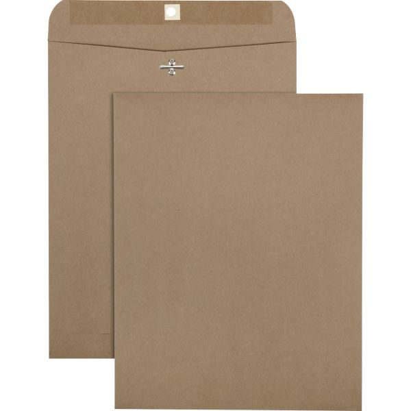 Quality Park 100% Recycled Brown Kraft Clasp Envelope, 10 x 13, Brown Kraft, 100/Box