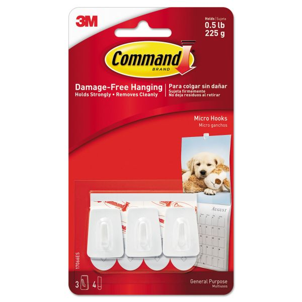 Command General Purpose Hooks, Micro, 0.5lb Cap, White, 3 Hooks & 4 Strips/Pack