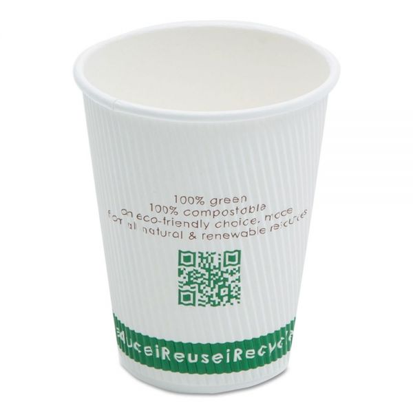 NatureHouse Compostable Insulated Ripple-Grip 12 oz Coffee Cups
