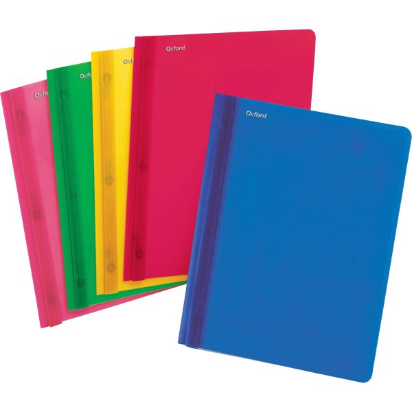 Oxford Translucent Poly Clear Front Report Cover, 3 Fastener, Letter,Assorted, 25/Box
