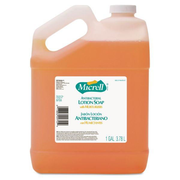 MICRELL Antibacterial Lotion Soap, Light Scent, 1gal Bottle, 4/Carton