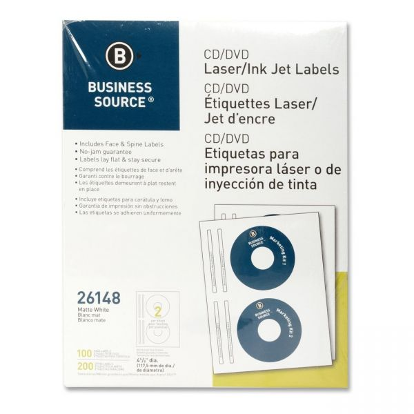 Business Source 26148 CD/DVD Label - 100 / Pack