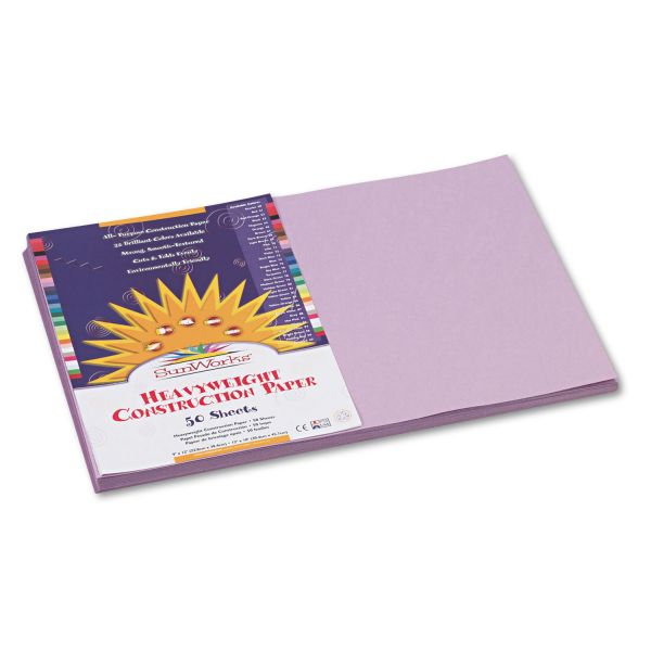 SunWorks Construction Paper, 58 lbs., 12 x 18, Lilac, 50 Sheets/Pack
