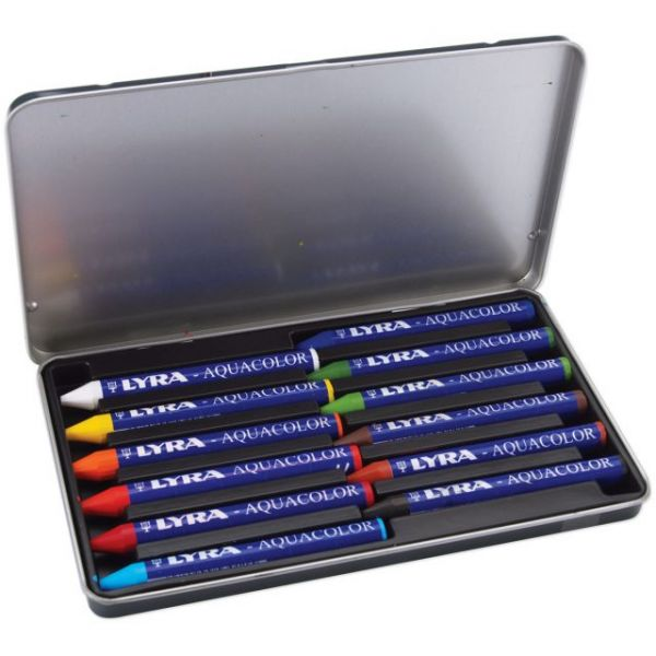 Lyra Aquacolor Water-Soluble Crayons 12/Pkg