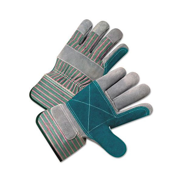 Anchor Brand 2000 Series Leather Palm Gloves, Gray/Green/Red, Large, 12 Pairs