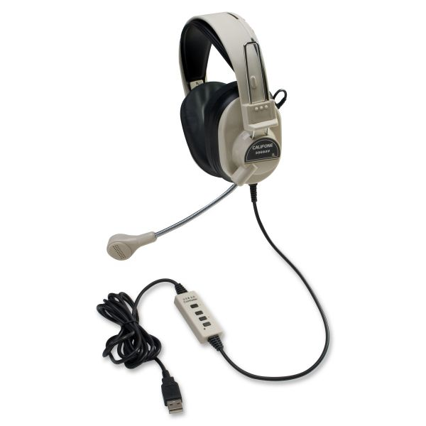 Califone Deluxe Stereo Headphone W/ Boom Mic USB Via Ergoguys