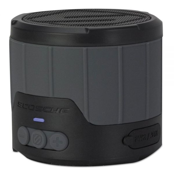 "Scosche boomBOTTLE Rugged Weatherproof Speaker, 3 1/4""d, Gray"