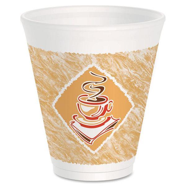 Dart Café G Foam Hot/Cold Cups, 12oz, White w/Brown & Red, 1000/Carton