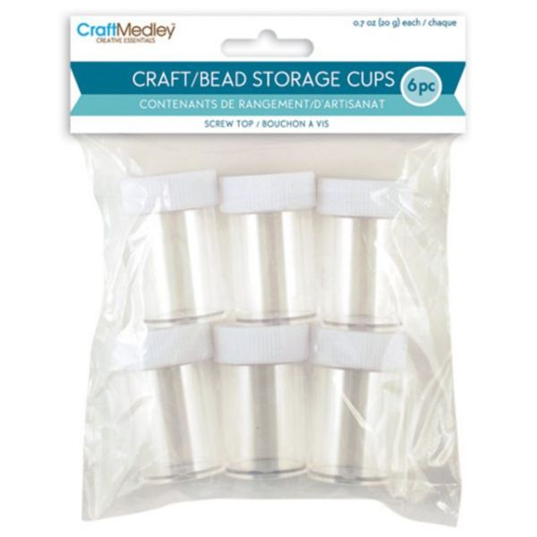 Craft Medley Bead Storage Cups W/Screw-Tops