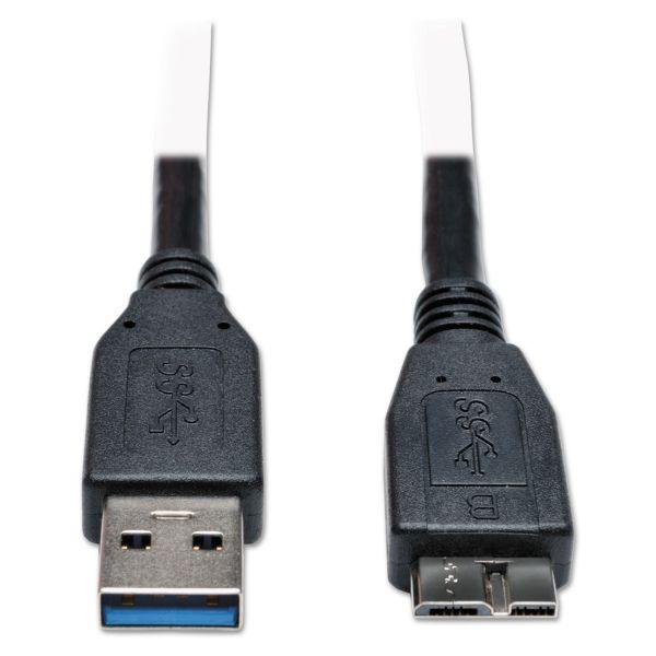 Tripp Lite USB 3.0 Device Cable, USB 3.0 A/USB 3.0 Micro-B, 1 ft, Black