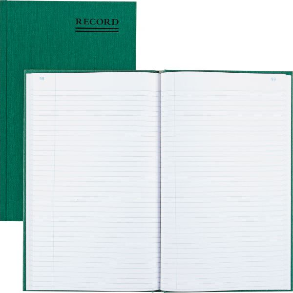 National Emerald Series Account Book, Green Cover, 300 Pages, 12 1/4 x 7 1/4