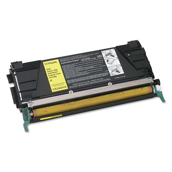 Lexmark C5240YH High-Yield Toner, 5000 Page-Yield, Yellow
