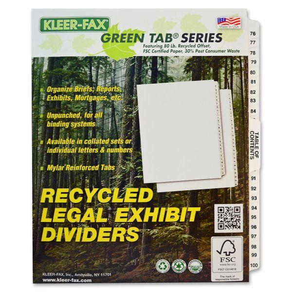 Kleer-Fax 80000 Series Legal Exhibit Index Dividers