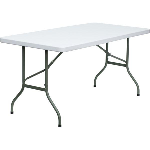 Flash Furniture 30''W x 60''L Granite White Plastic Folding Table