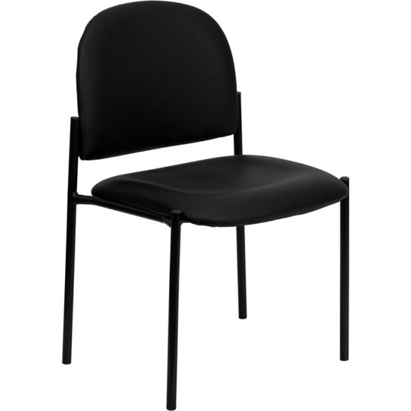 Flash Furniture Black Vinyl Comfortable Stackable Steel Side Chair