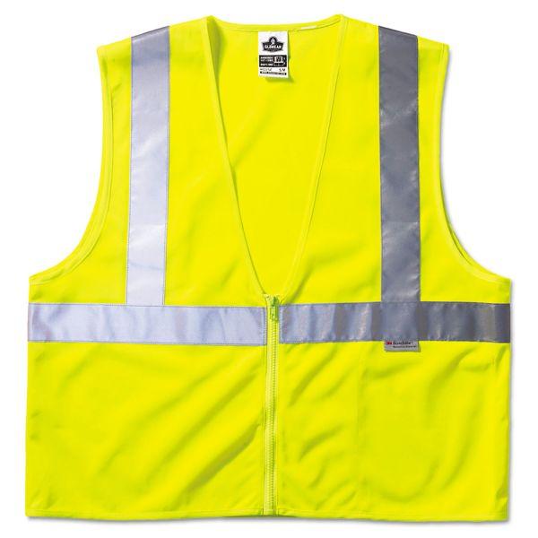 ergodyne GloWear Class 2 Standard Vest, Lime, Mesh, Zip