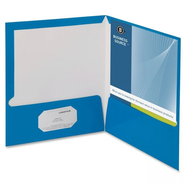Business Source Laminated Blue Two Pocket Folders