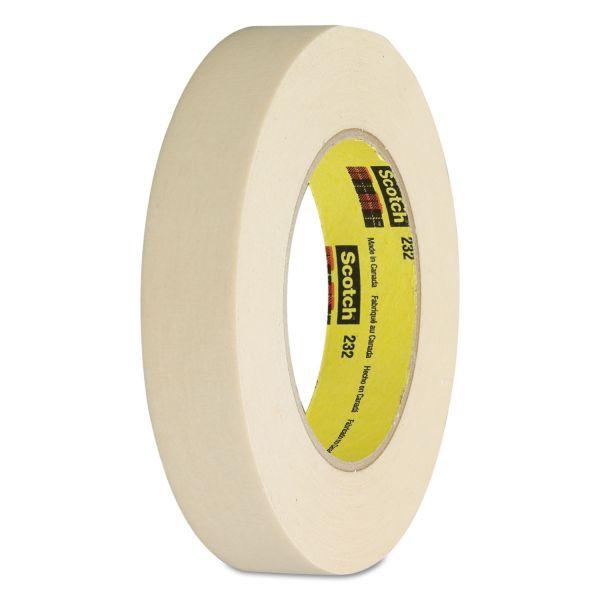 "Scotch 232 High-Performance Masking Tape, 18mm x 55m, 3"" Core, Tan"