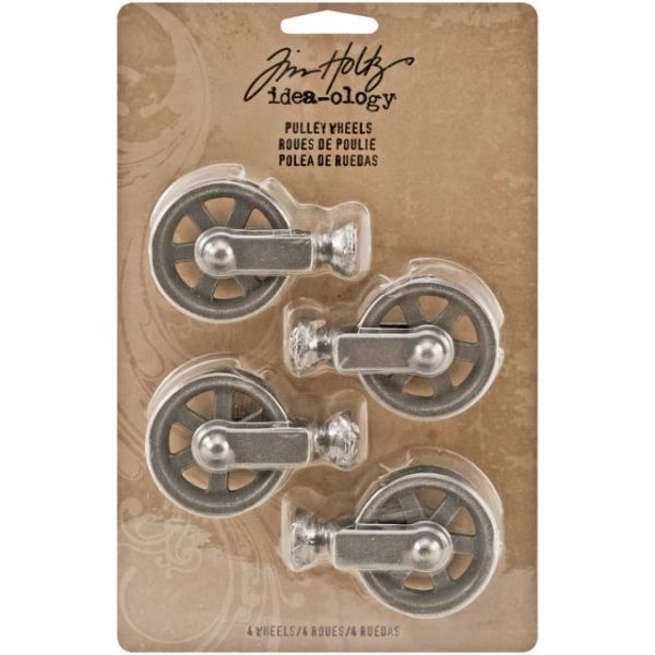 "Idea-Ology Metal Pulley Wheels 1.5""X2""X.625"" 4/Pkg"
