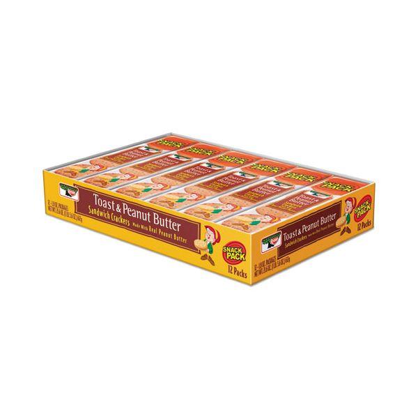 Keebler Sandwich Crackers, Toast & Peanut Butter, 8 Cracker Snack Pack, 12/Box