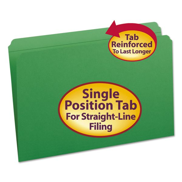 Smead File Folders, Straight Cut, Reinforced Top Tab, Legal, Green, 100/Box