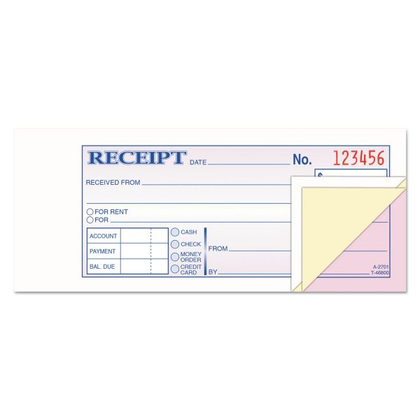 Adams Receipt Book, 2 3/4 x 7 3/16, Three-Part Carbonless, 50 Forms