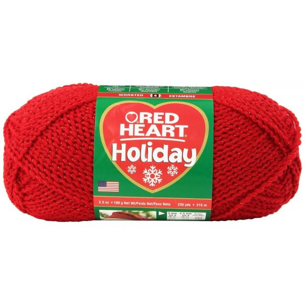 Red Heart Holiday Yarn - Red W/Red Metallic