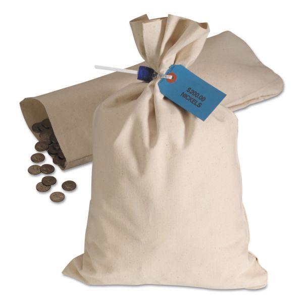 MMF Industries Heavyweight Cotton Duck Cloth Coin Bag, 10oz Canvas, 12 x 19, White