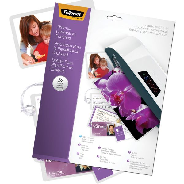 Fellowes Assorted Sizes Laminating Pouches