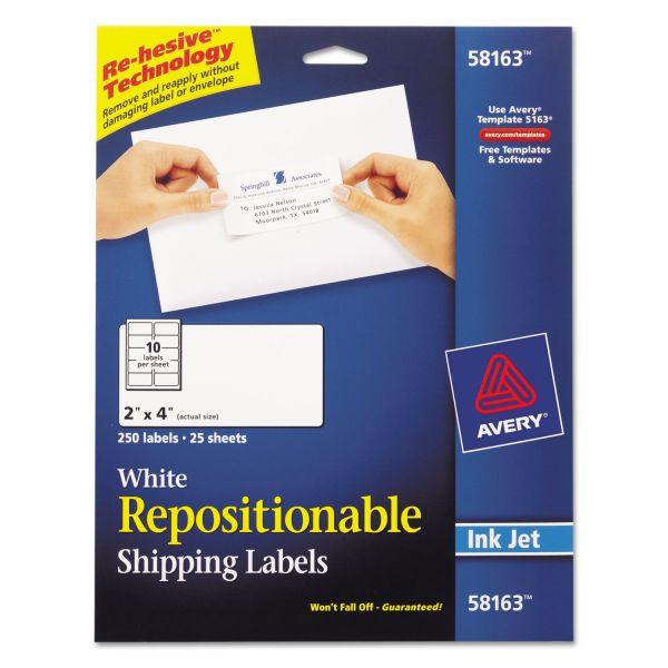 "Avery Repositionable 2"" x 4"" Shipping Labels"