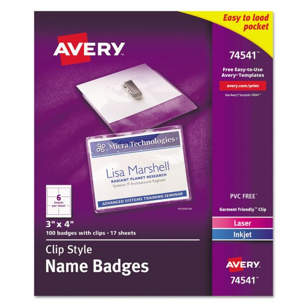 Avery Clip-On Name Badges