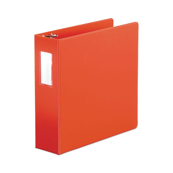 "Universal Economy Non-View 3-Ring Binder With Label Holder, 3"" Capacity, Round Ring, Red"