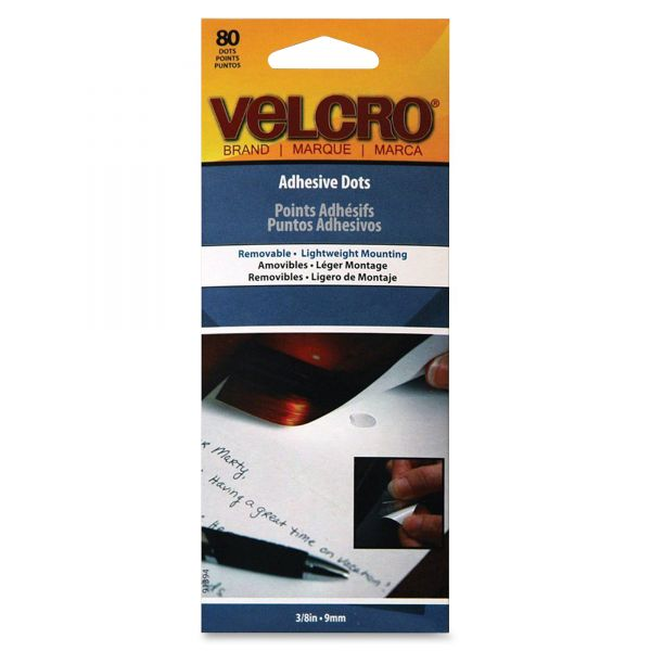 "Velcro Adhesive-Backed Dots, Removable, 3/8"" Diameter, 80/Pack"