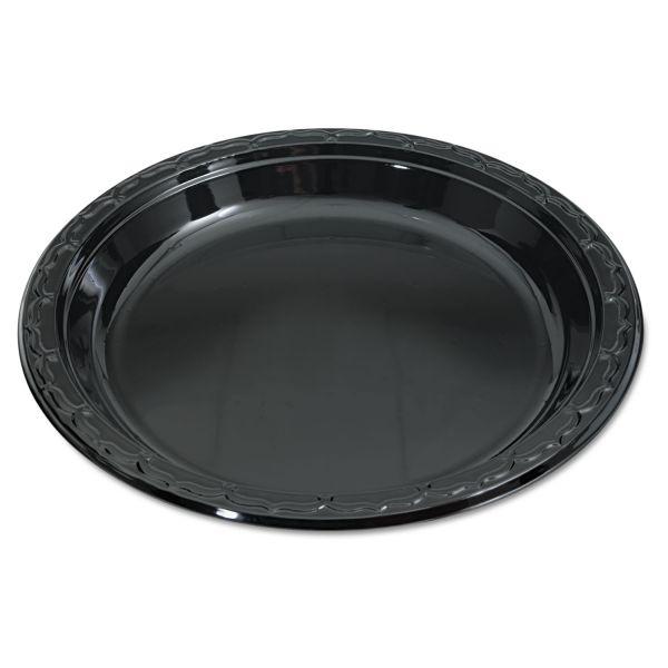 "Genpak Silhouette 10.25"" Black Plastic Plates"