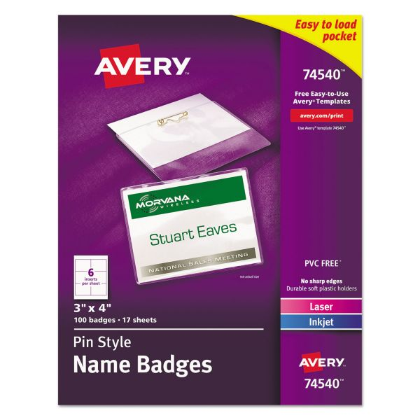 Avery Pin-Style Name Badge Holders w/Inserts, Top Load, 3 x 4, White, 100/Box