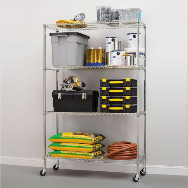 Alera Complete Wire Shelving Unit w/Caster, Four-Shelf, 48 x 18 x 72, Silver
