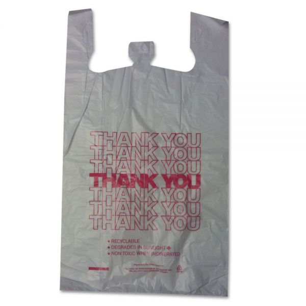 "Barnes Paper Company ""Thank You"" Plastic T-Shirt Shopping Bags"