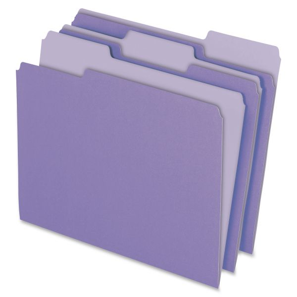 Pendaflex Colored File Folders, 1/3 Cut Top Tab, Letter, Lavender/Light Lavender, 100/Box