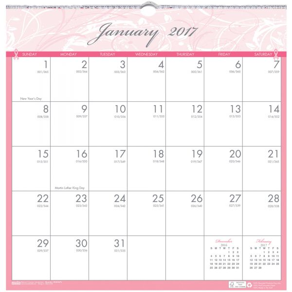 House of Doolittle Breast Cancer Awareness Monthly Wall Calendar