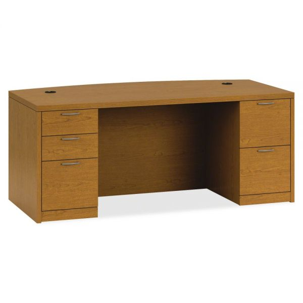 "HON Valido Double Pedestal Desk | Bow Top | 2 Box / 3 File Drawers | 72""W"