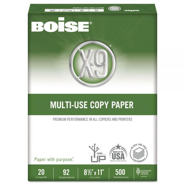 Boise X-9 Multi-Use Copy Paper, 92 Brightness, 20 lb, 8 1/2 x 11, White, 2500 Sheets/Carton