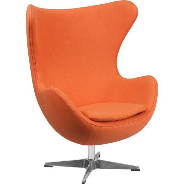 Flash Furniture Orange Wool Fabric Egg Chair
