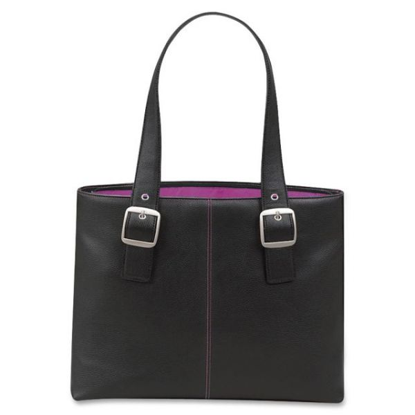 "SOLO Classic Collection 15.4"" Laptop Tote, Pebble-Grain Vinyl, Black/Pink"