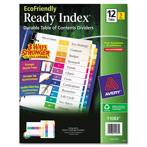 Avery EcoFriendly Ready Index Table of Contents Numbered Dividers