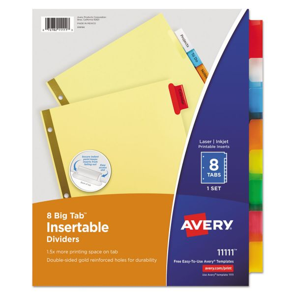 Avery Insertable Big Tab Dividers, 8-Tab, Multi-color Tab, Letter, 1 Set