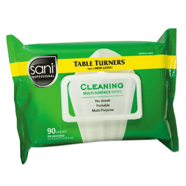 Sani Professional Table Turner Wet Wipes, 7 x 11 1/2, White, 90 Wipes/Pack, 12 Packs/Carton