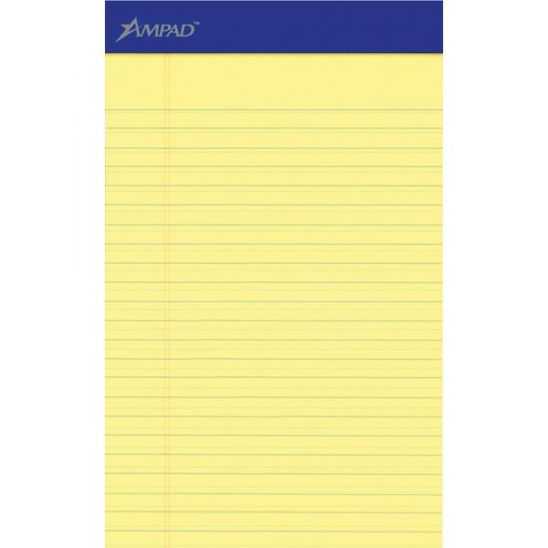 Ampad Perforated Writing Pad, Narrow, 5 x 8, Canary, 50 Sheets, Dozen
