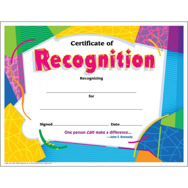 Trend Certificate of Recognition