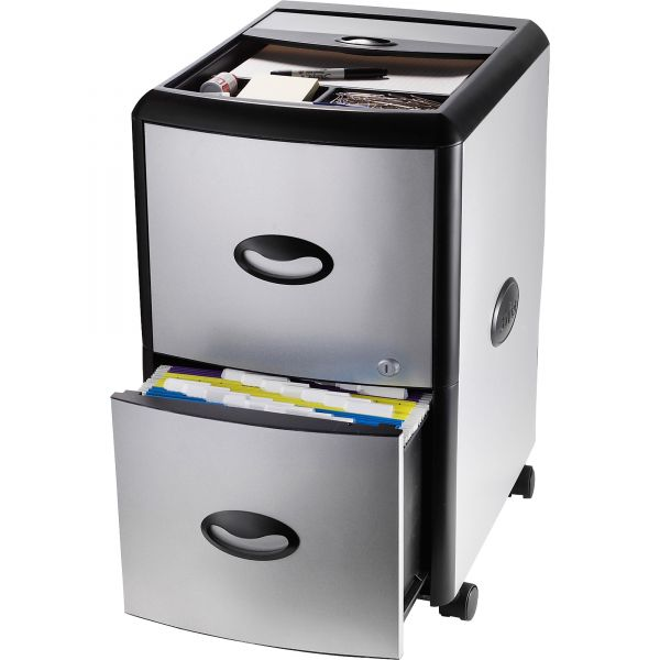 Storex 2-Drawer Mobile File Cabinet with Tray